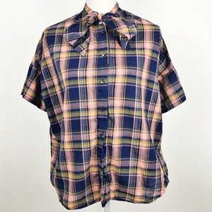 Madewell Tie Neck Short Sleeve Plaid Shirt J8897